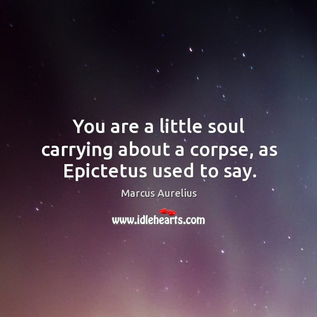 Image, You are a little soul carrying about a corpse, as Epictetus used to say.