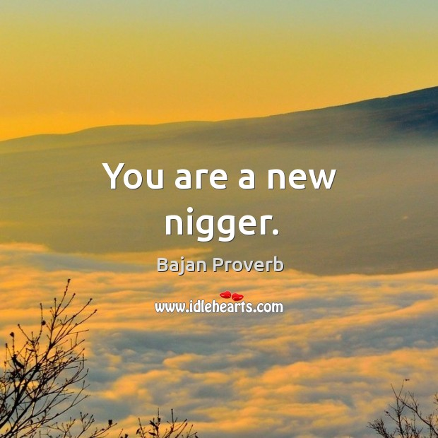 You are a new nigger. Bajan Proverbs Image