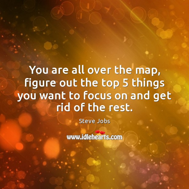 You are all over the map, figure out the top 5 things you Steve Jobs Picture Quote