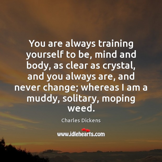 Image, You are always training yourself to be, mind and body, as clear