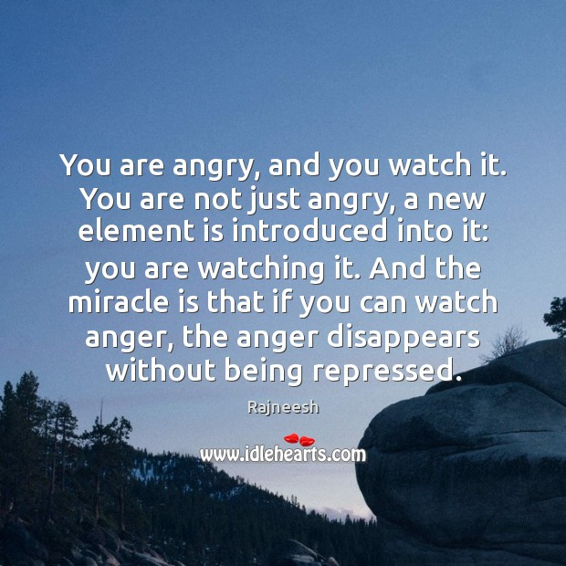 You are angry, and you watch it. You are not just angry, Rajneesh Picture Quote