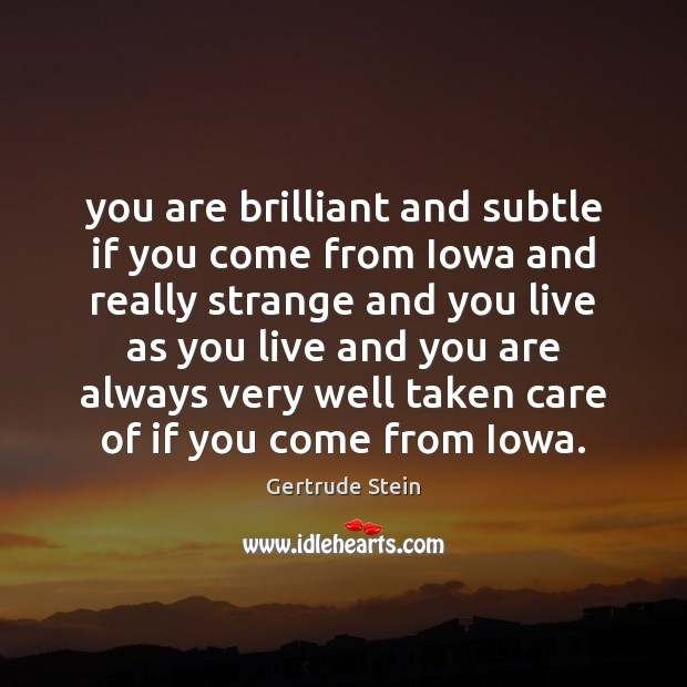 You are brilliant and subtle if you come from Iowa and really Image