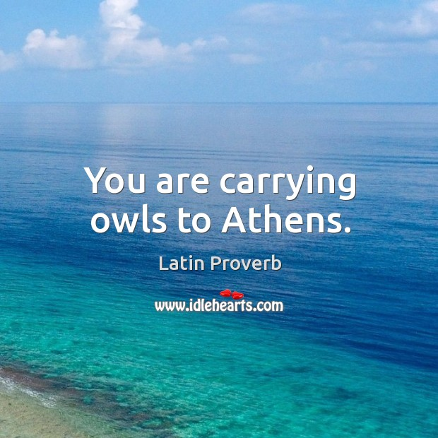 Image, You are carrying owls to athens.