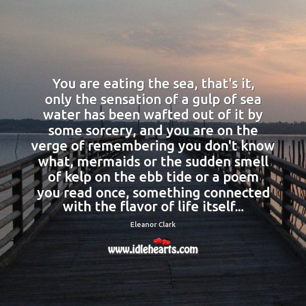 You are eating the sea, that's it, only the sensation of a Image