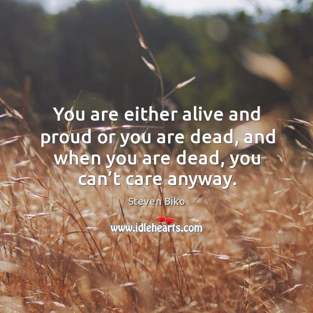 You are either alive and proud or you are dead, and when you are dead, you can't care anyway. Steven Biko Picture Quote