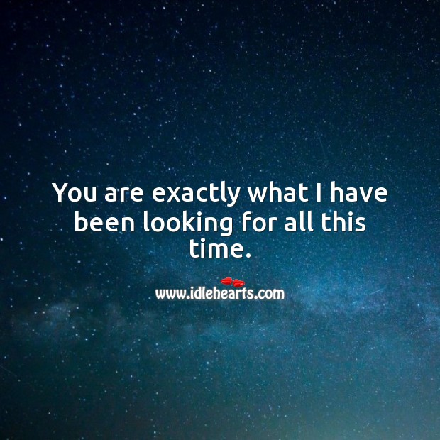 You are exactly what I have been looking for all this time. Spiritual Love Quotes Image