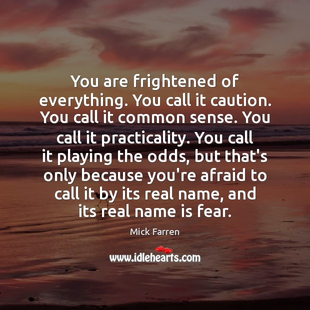 You are frightened of everything. You call it caution. You call it Mick Farren Picture Quote