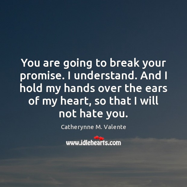 You are going to break your promise. I understand. And I hold Catherynne M. Valente Picture Quote