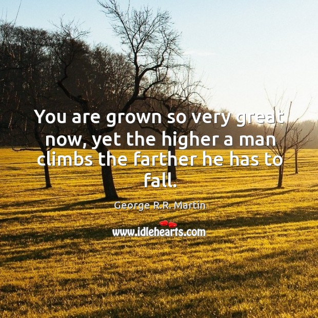 You are grown so very great now, yet the higher a man climbs the farther he has to fall. Image
