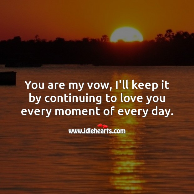 You are my vow, I'll keep it by continuing to love you every moment of every day. Love Forever Quotes Image