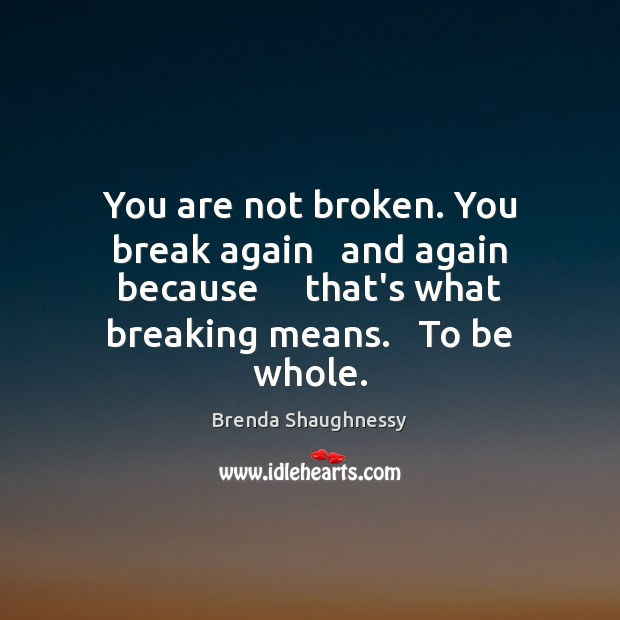 Image, You are not broken. You break again   and again because     that's what