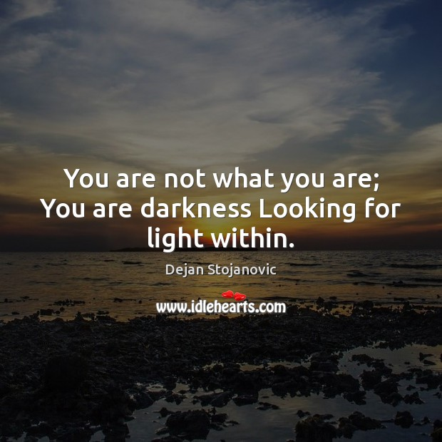 You are not what you are; You are darkness Looking for light within. Dejan Stojanovic Picture Quote