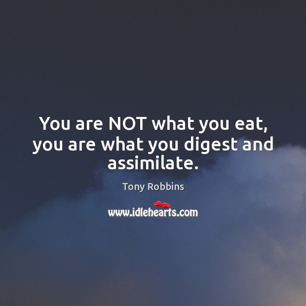 Image, You are NOT what you eat, you are what you digest and assimilate.