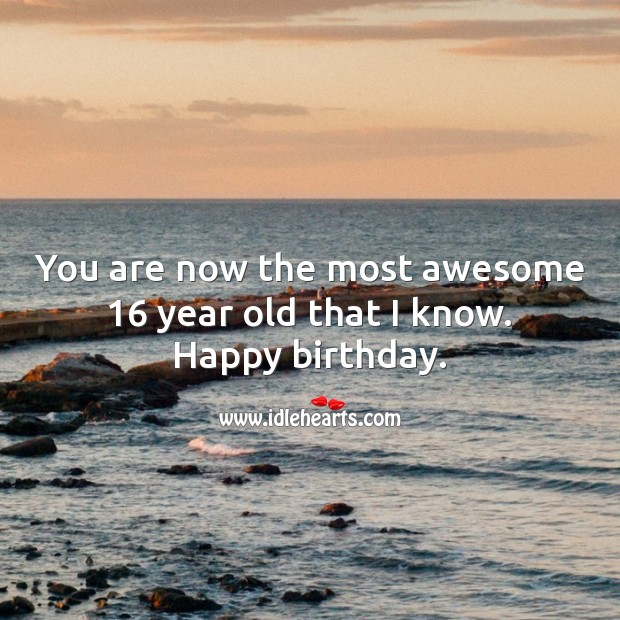 You are now the most awesome 16 year old that I know. Sweet 16 Birthday Messages Image