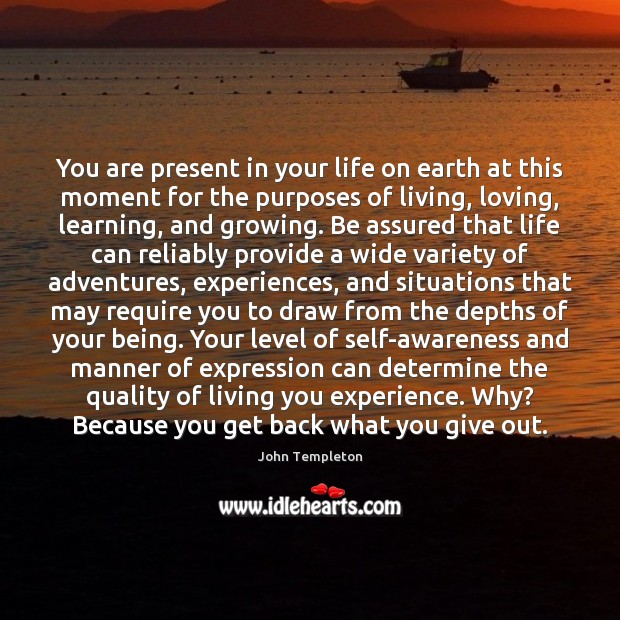 Image, You are present in your life on earth at this moment for