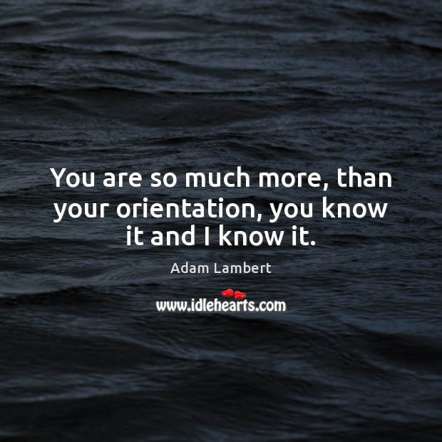 You are so much more, than your orientation, you know it and I know it. Adam Lambert Picture Quote