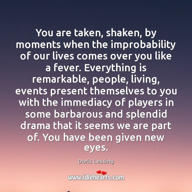 You are taken, shaken, by moments when the improbability of our lives Doris Lessing Picture Quote
