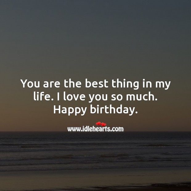 You are the best thing in my life. I love you so much. Happy birthday. Love You So Much Quotes Image
