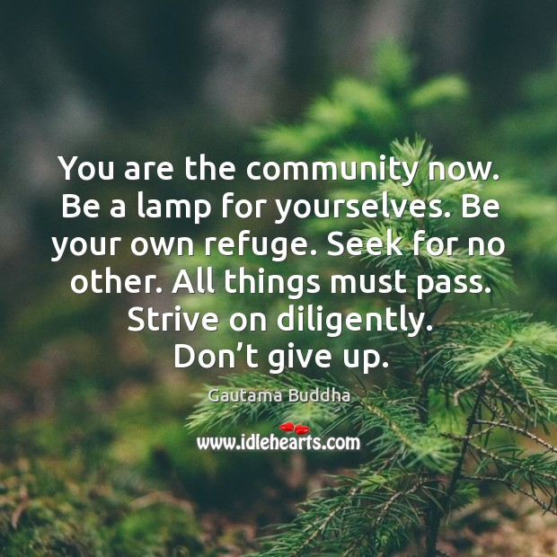 Image, You are the community now. Be a lamp for yourselves. Be your