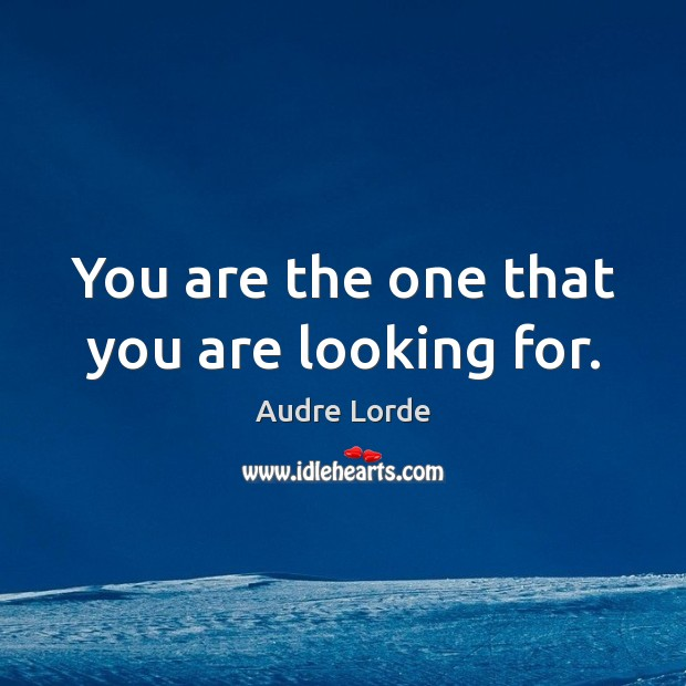 You are the one that you are looking for. Audre Lorde Picture Quote