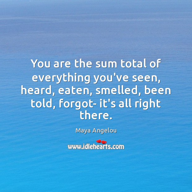 You are the sum total of everything you've seen, heard, eaten, smelled, Maya Angelou Picture Quote