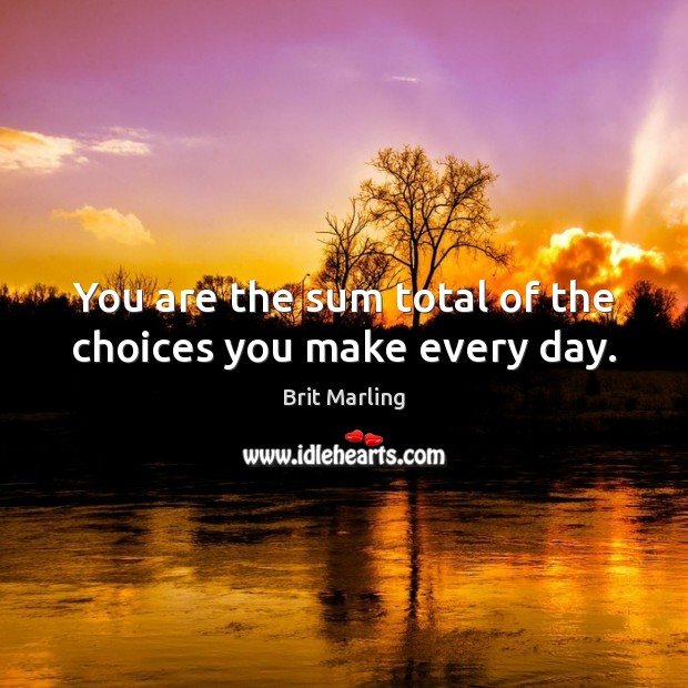 Image, You are the sum total of the choices you make every day.