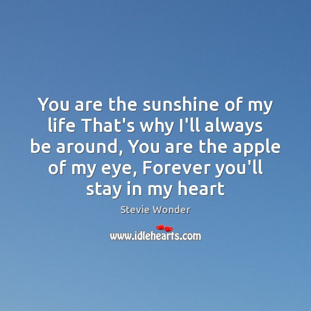 You are the sunshine of my life That's why I'll always be Image