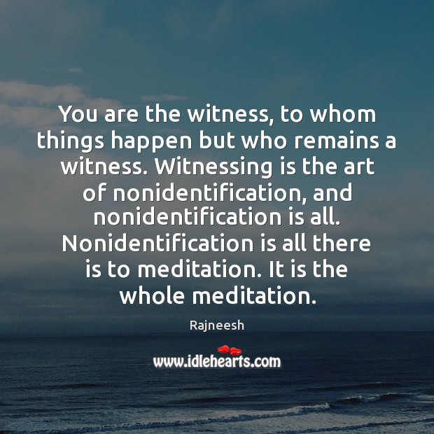 You are the witness, to whom things happen but who remains a Image