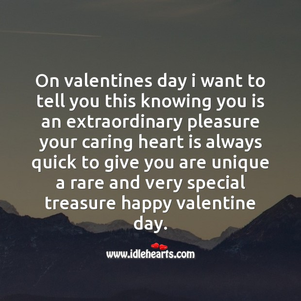 You are unique a rare and very special treasure Valentine's Day Quotes Image