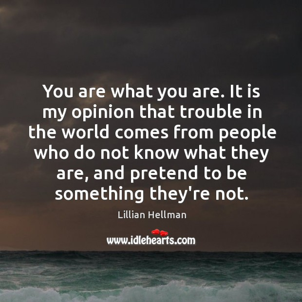 You are what you are. It is my opinion that trouble in Lillian Hellman Picture Quote