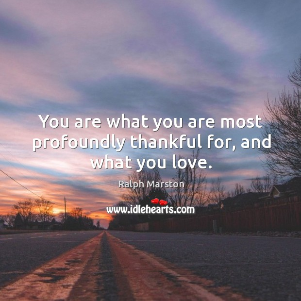 You are what you are most profoundly thankful for, and what you love. Image