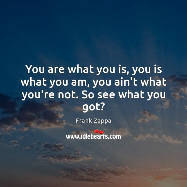 You are what you is, you is what you am, you ain't what you're not. So see what you got? Image