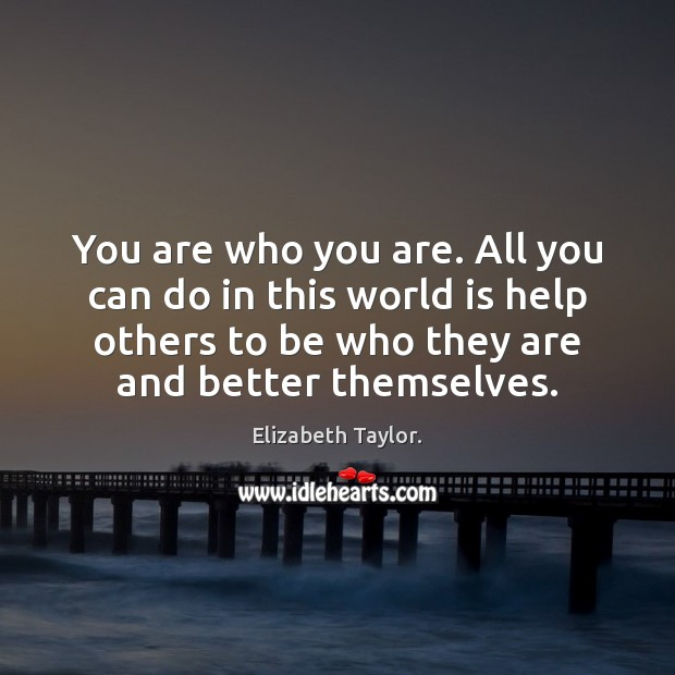 You are who you are. All you can do in this world Image