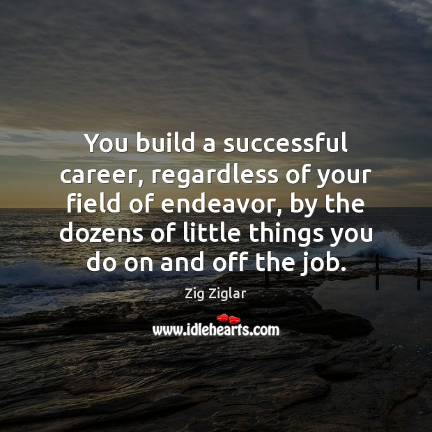 You build a successful career, regardless of your field of endeavor, by Image