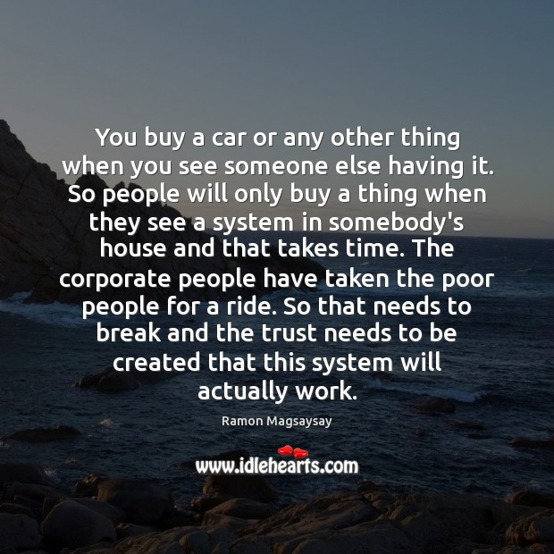 Image, You buy a car or any other thing when you see someone