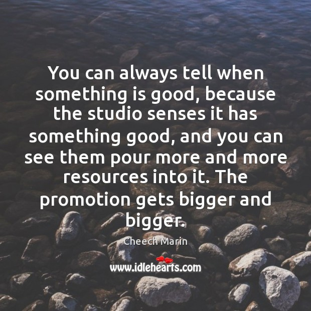 You can always tell when something is good, because the studio senses Cheech Marin Picture Quote