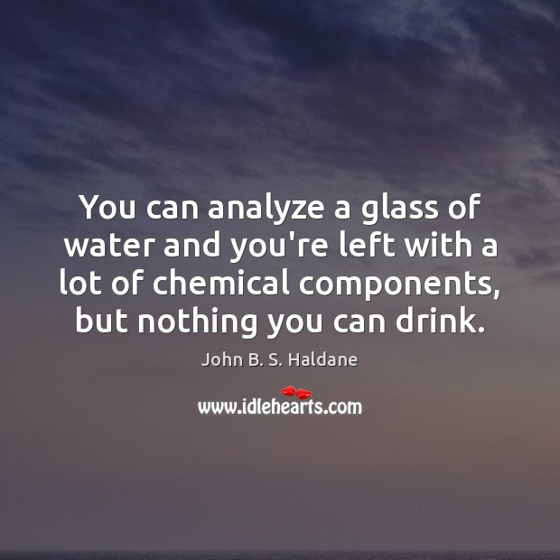 You can analyze a glass of water and you're left with a John B. S. Haldane Picture Quote