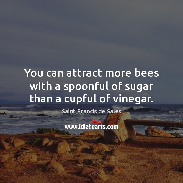 You can attract more bees with a spoonful of sugar than a cupful of vinegar. Saint Francis de Sales Picture Quote