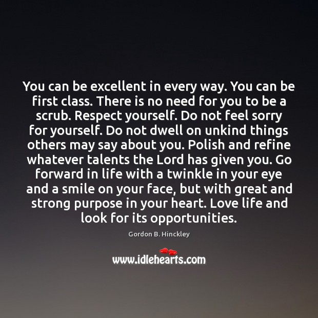 Image, You can be excellent in every way. You can be first class.