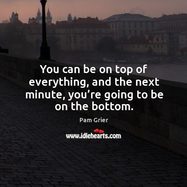 You can be on top of everything, and the next minute, you're going to be on the bottom. Pam Grier Picture Quote