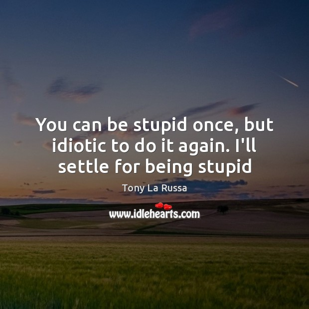 Image, You can be stupid once, but idiotic to do it again. I'll settle for being stupid