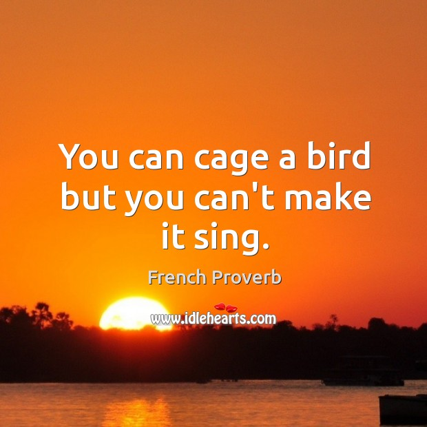 Image, You can cage a bird but you can't make it sing.