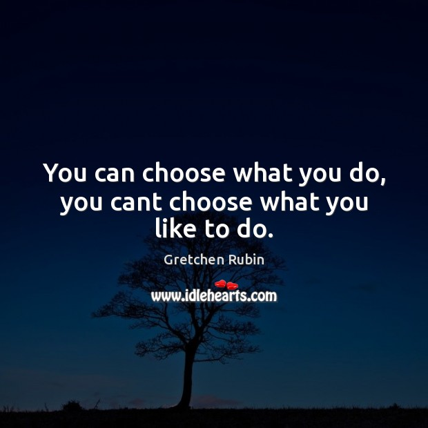 You can choose what you do, you cant choose what you like to do. Gretchen Rubin Picture Quote