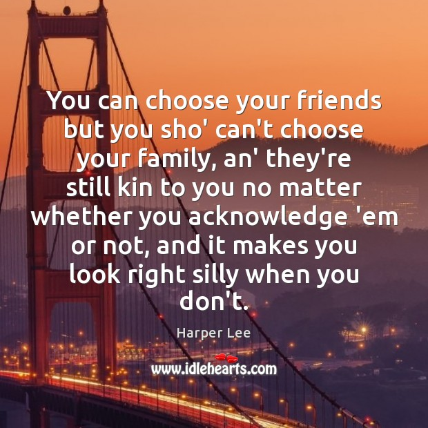 You can choose your friends but you sho' can't choose your family, Harper Lee Picture Quote