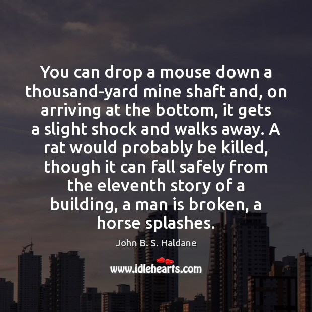 You can drop a mouse down a thousand-yard mine shaft and, on John B. S. Haldane Picture Quote