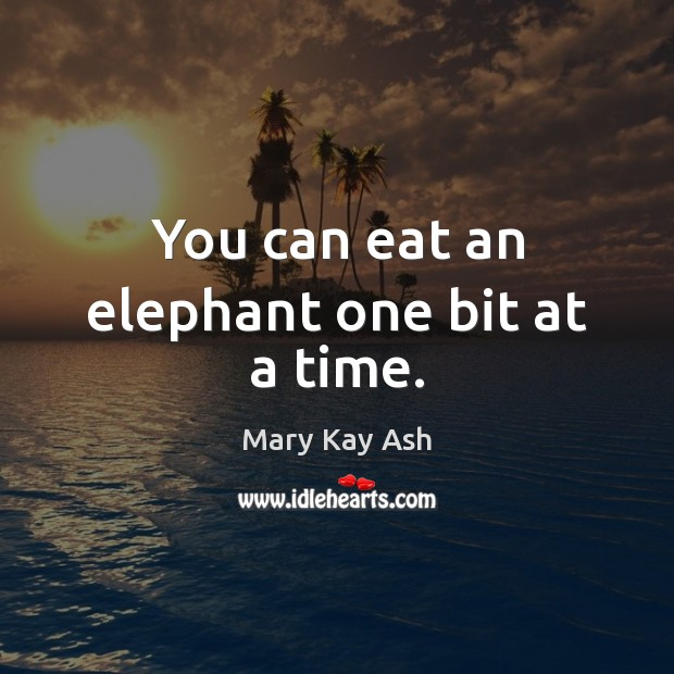 You can eat an elephant one bit at a time. Mary Kay Ash Picture Quote