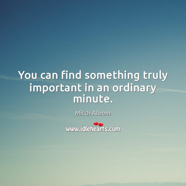 You can find something truly important in an ordinary minute. Mitch Albom Picture Quote