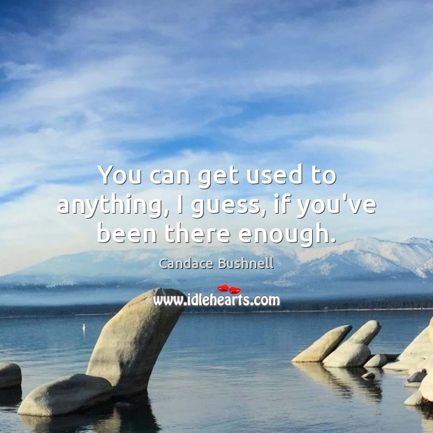 You can get used to anything, I guess, if you've been there enough. Candace Bushnell Picture Quote