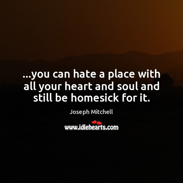 …you can hate a place with all your heart and soul and still be homesick for it. Image