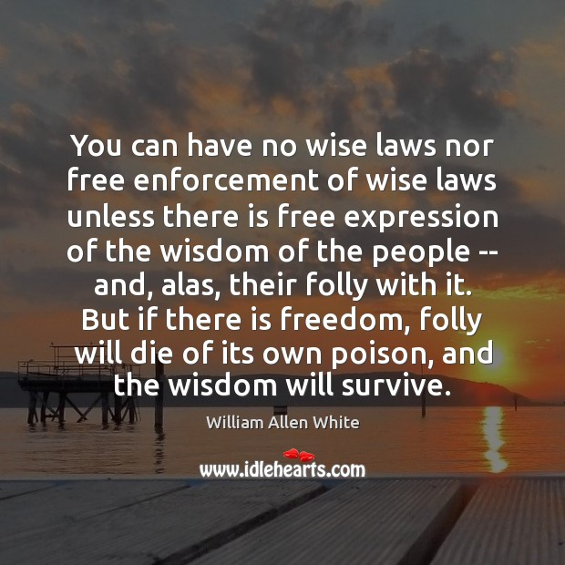 You can have no wise laws nor free enforcement of wise laws Image